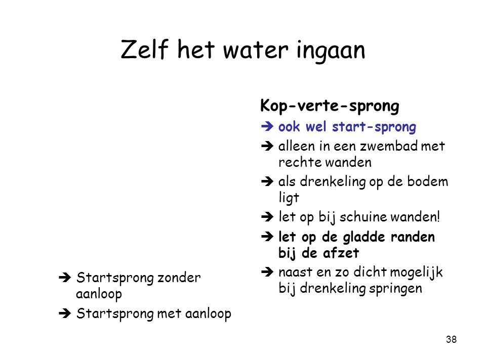 Zelf het water ingaan Kop-verte-sprong ook wel start-sprong