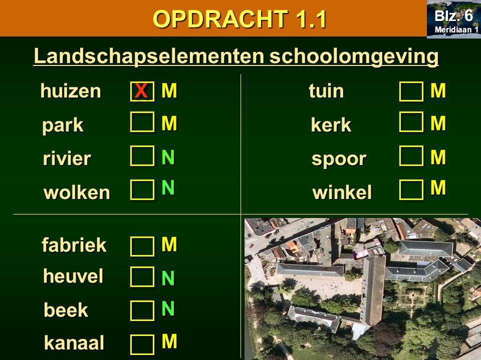 OPDRACHT 1.1 Landschapselementen schoolomgeving huizen X M tuin M park