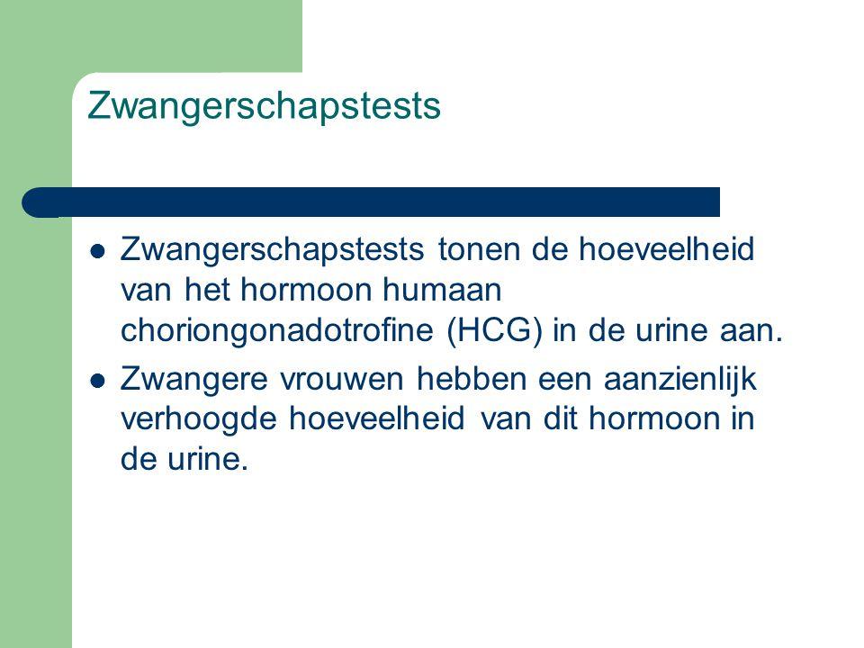 Zwangerschapstests Zwangerschapstests tonen de hoeveelheid van het hormoon humaan choriongonadotrofine (HCG) in de urine aan.
