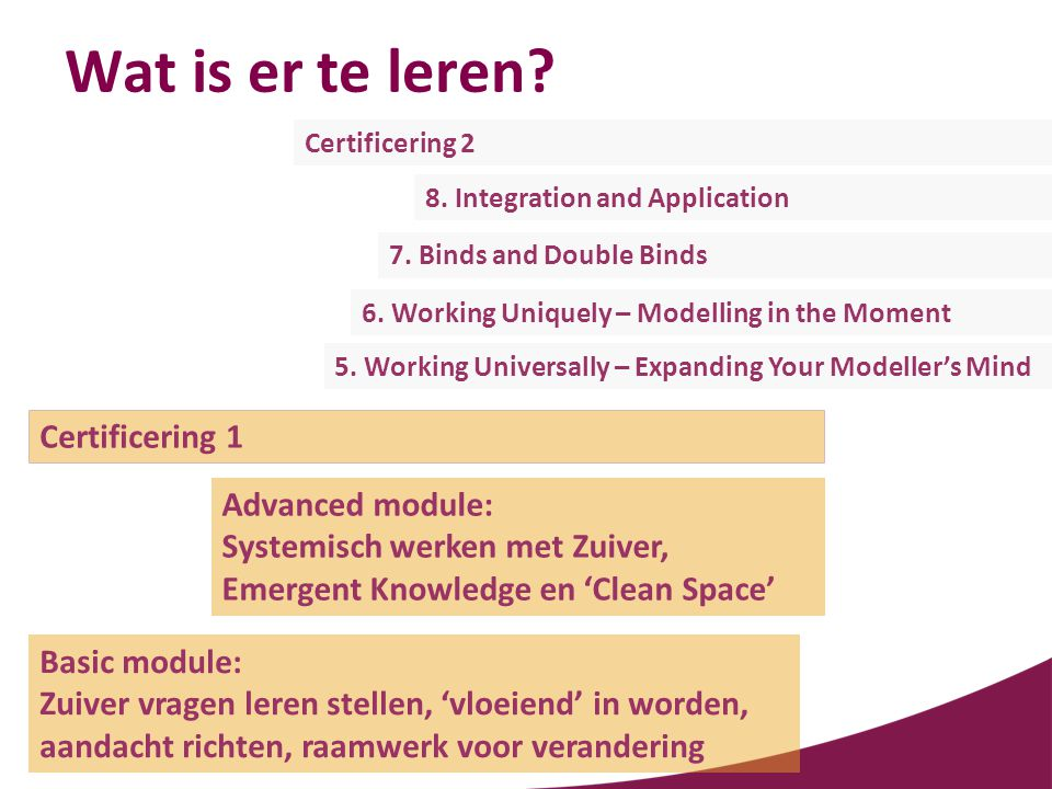 Wat is er te leren Certificering 1 Advanced module: