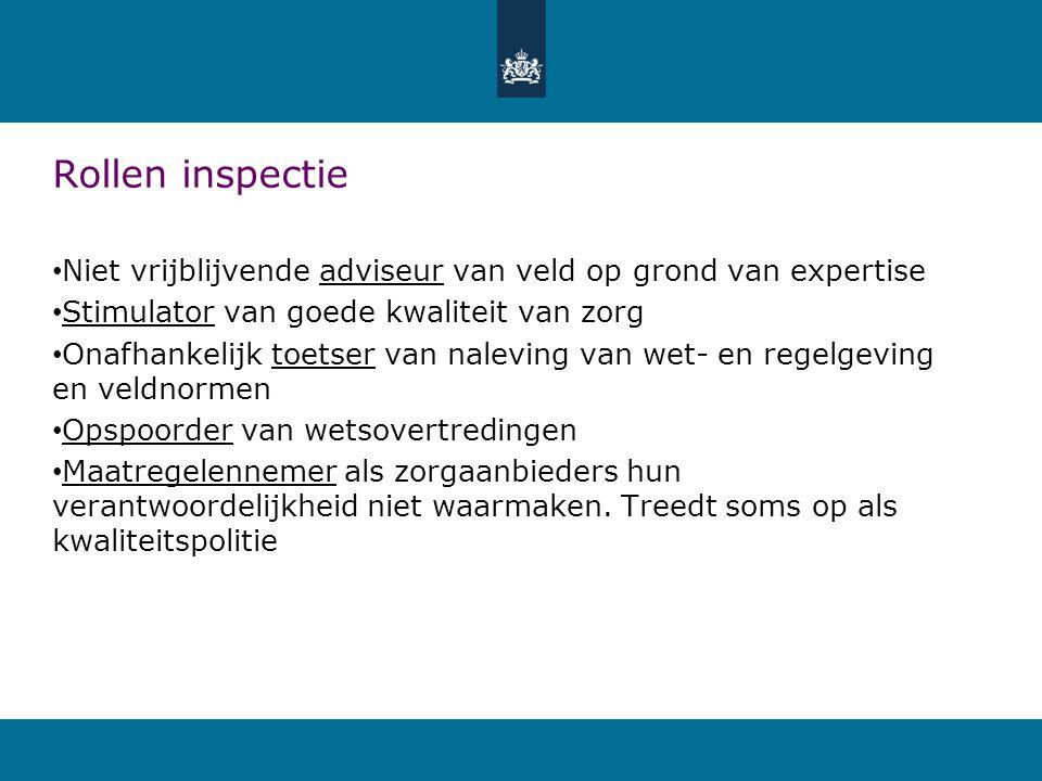 Rollen inspectie Niet vrijblijvende adviseur van veld op grond van expertise. Stimulator van goede kwaliteit van zorg.