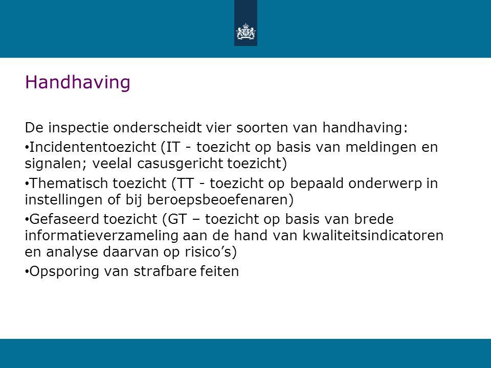 Handhaving De inspectie onderscheidt vier soorten van handhaving: