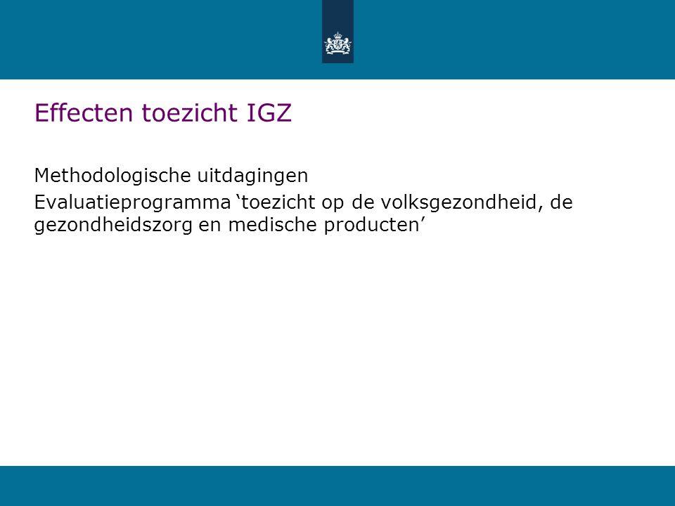 Effecten toezicht IGZ Methodologische uitdagingen
