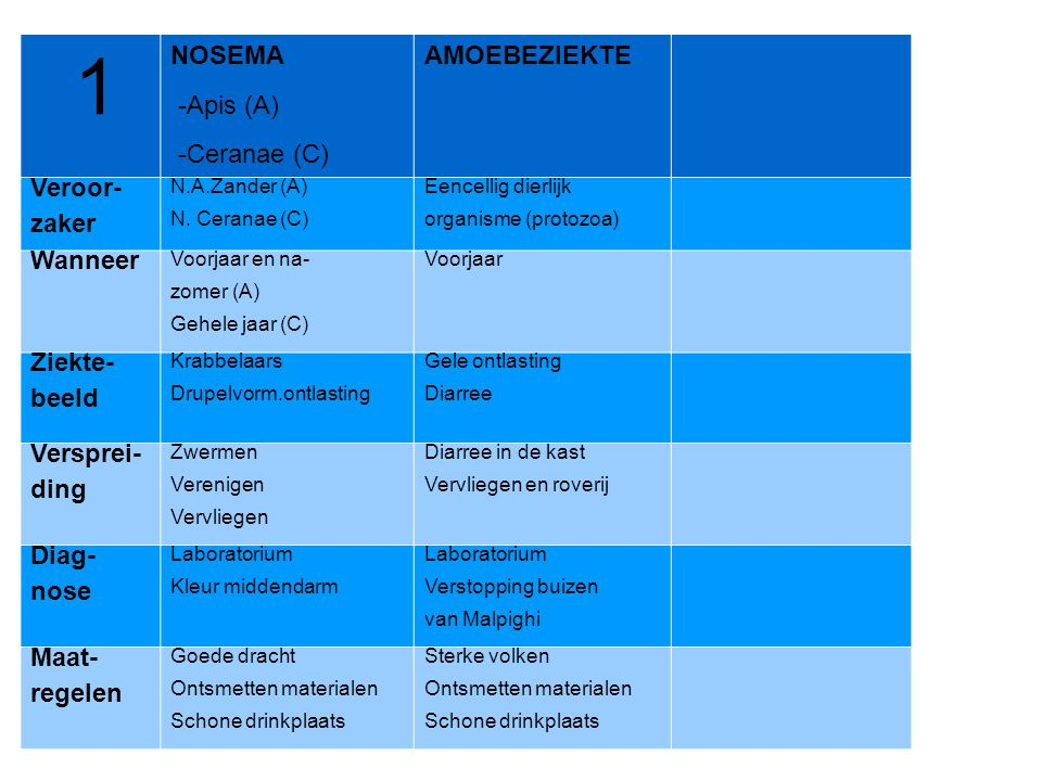 1 NOSEMA -Apis (A) -Ceranae (C) AMOEBEZIEKTE Veroor- zaker Wanneer