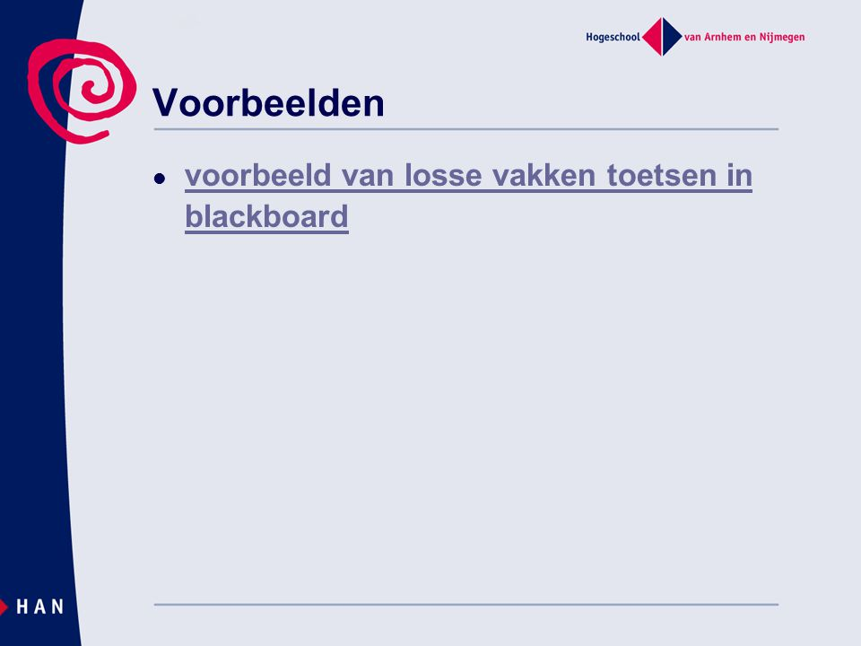 Voorbeelden voorbeeld van losse vakken toetsen in blackboard