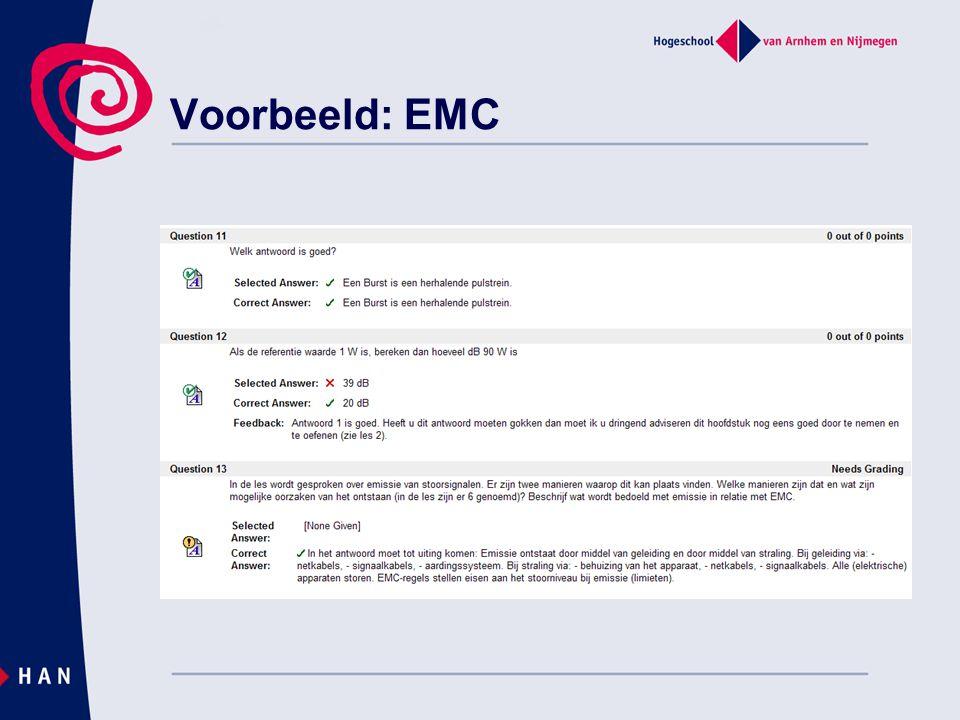 Voorbeeld: EMC verschillende soorten vragen en feedback