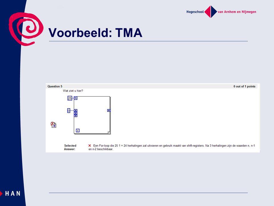 Voorbeeld: TMA Andere vraag en let op feedback.