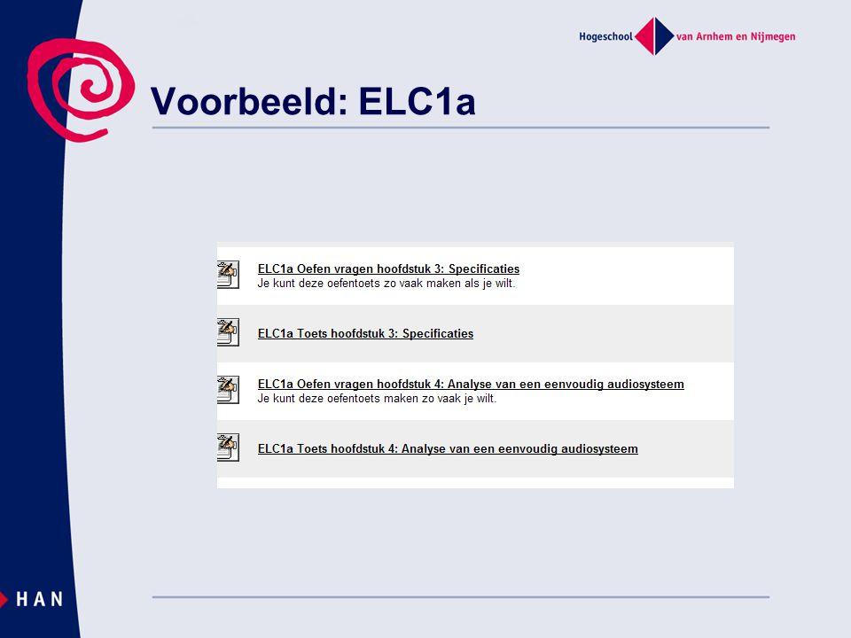 Voorbeeld: ELC1a Verschil oefentoetsen en toetsen