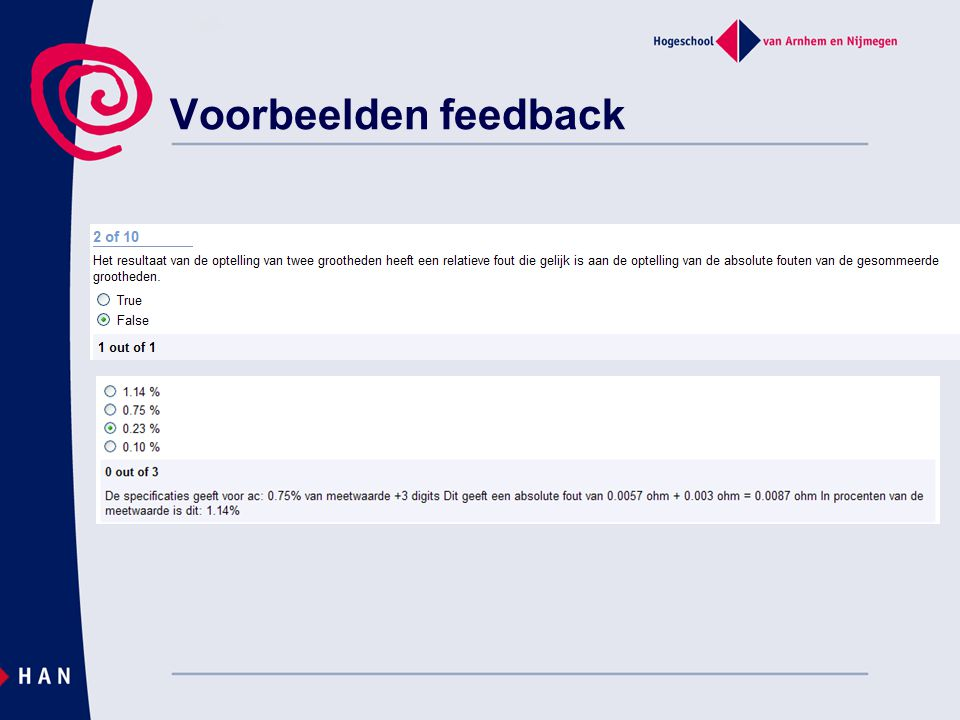 Voorbeelden feedback