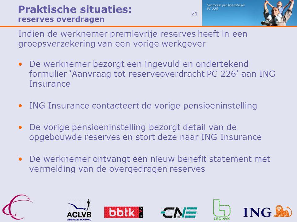 Praktische situaties: reserves overdragen