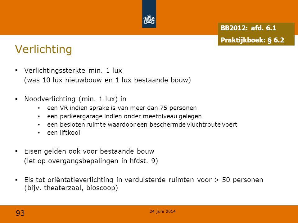 Verlichting BB2012: afd. 6.1 Praktijkboek: § 6.2