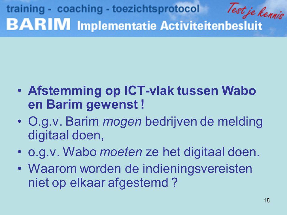 Afstemming op ICT-vlak tussen Wabo en Barim gewenst !