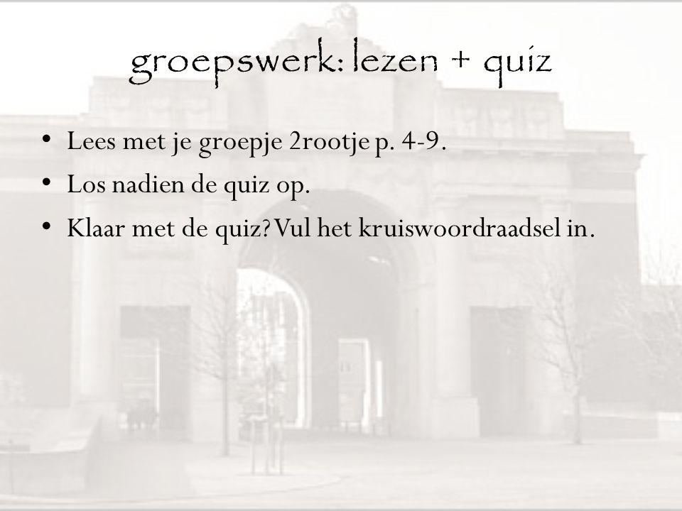 groepswerk: lezen + quiz