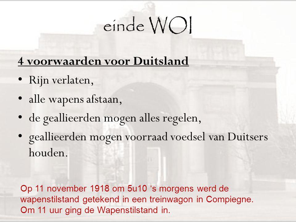 einde WOI 4 voorwaarden voor Duitsland Rijn verlaten,