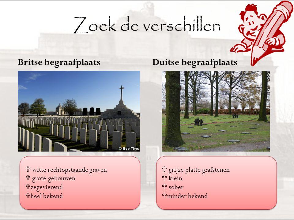 Zoek de verschillen Britse begraafplaats Duitse begraafplaats