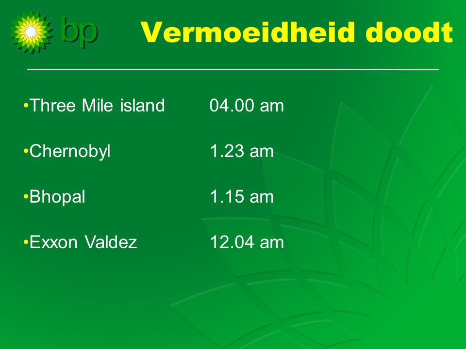 Vermoeidheid doodt Three Mile island 04.00 am Chernobyl 1.23 am