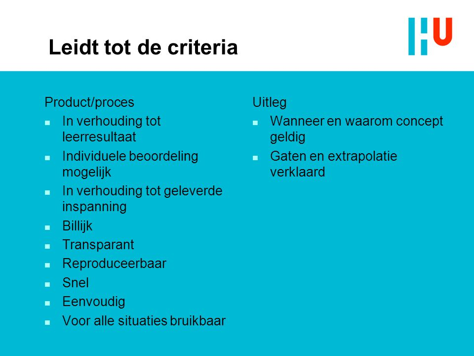 Leidt tot de criteria Product/proces In verhouding tot leerresultaat