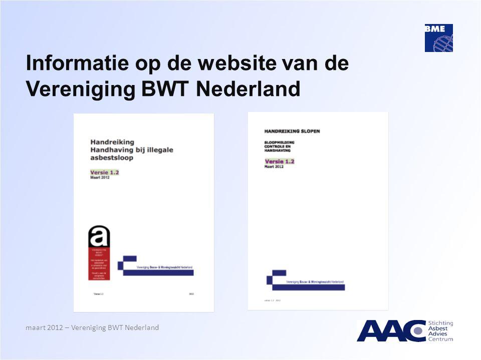 Informatie op de website van de Vereniging BWT Nederland