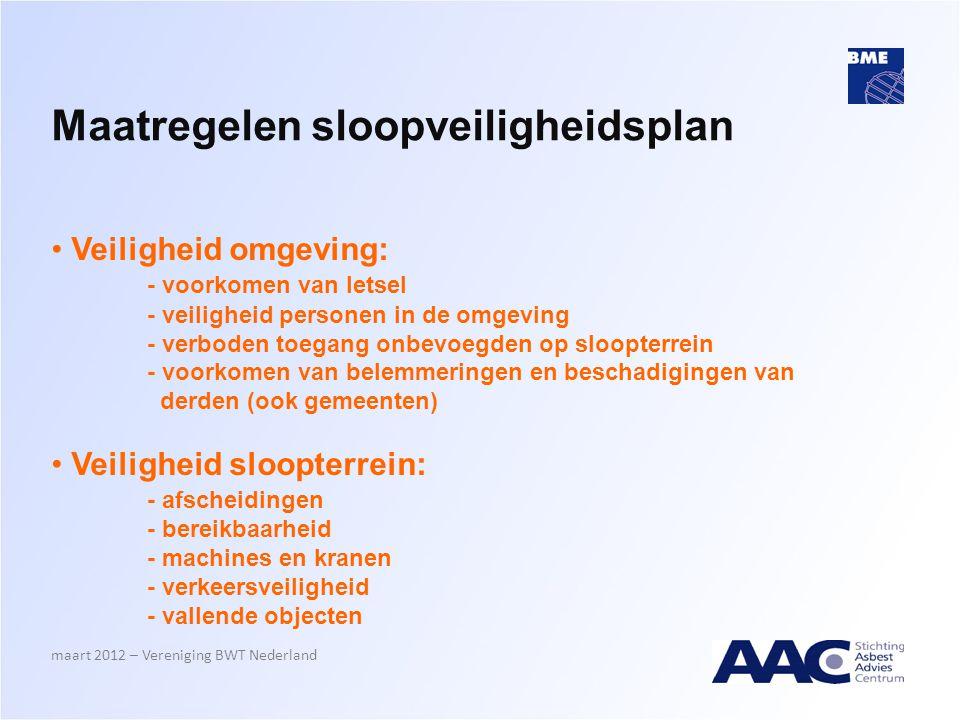 Maatregelen sloopveiligheidsplan