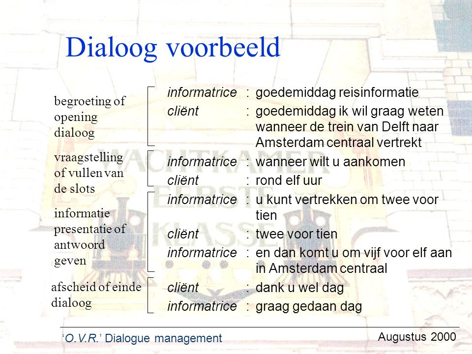 Dialoog voorbeeld informatrice : goedemiddag reisinformatie