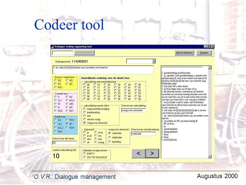 Codeer tool Augustus 2000