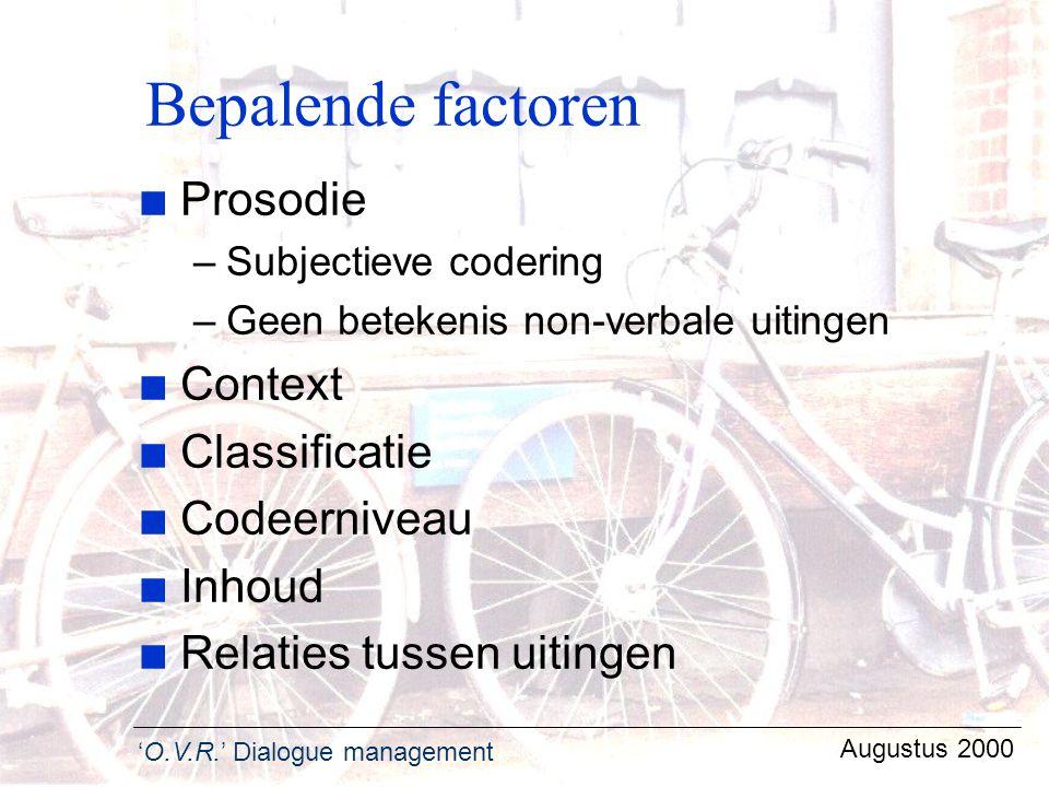 Bepalende factoren Prosodie Context Classificatie Codeerniveau Inhoud