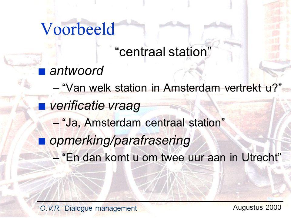 Voorbeeld centraal station antwoord verificatie vraag