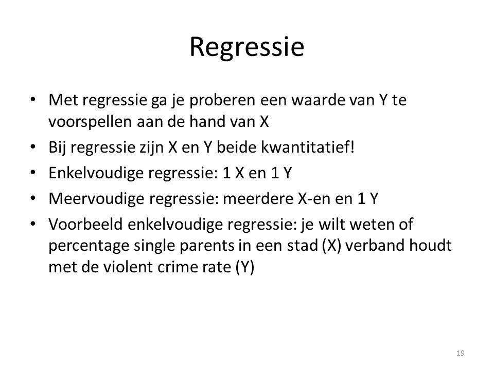 Regressie Met regressie ga je proberen een waarde van Y te voorspellen aan de hand van X. Bij regressie zijn X en Y beide kwantitatief!