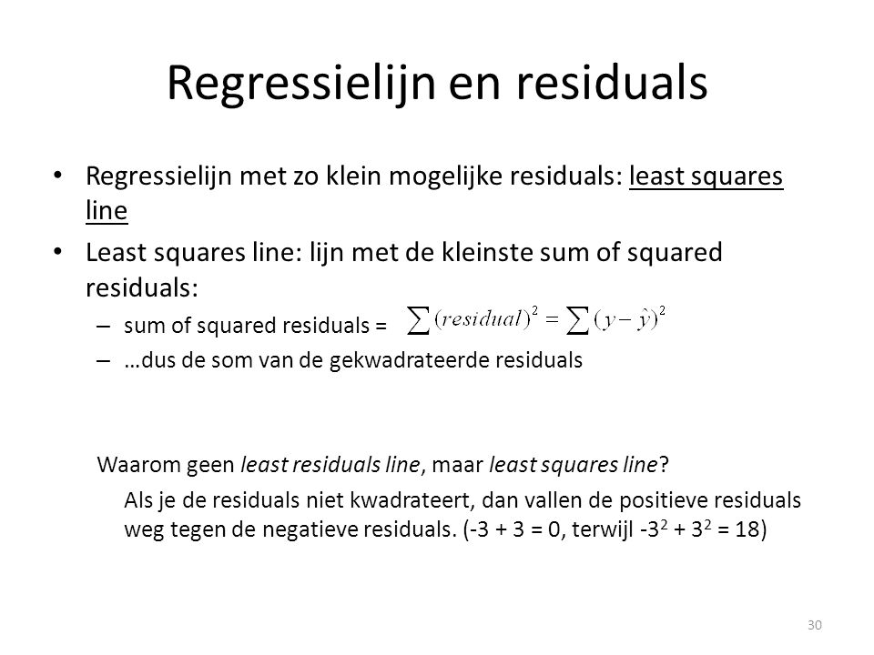 Regressielijn en residuals