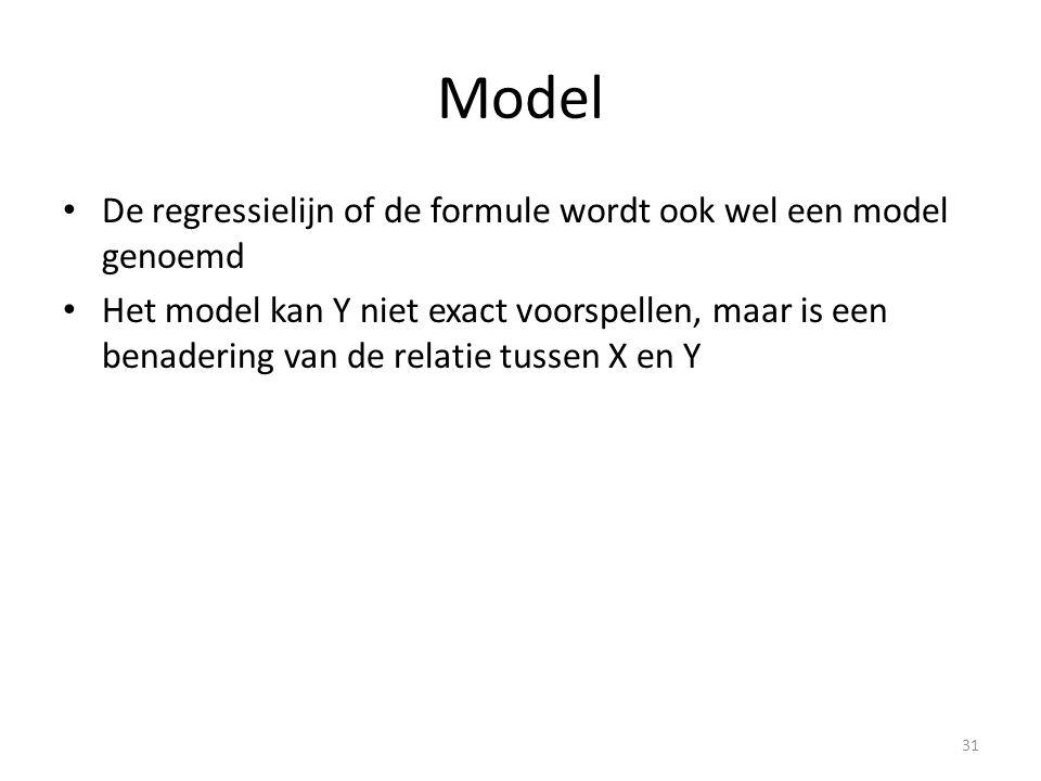 Model De regressielijn of de formule wordt ook wel een model genoemd