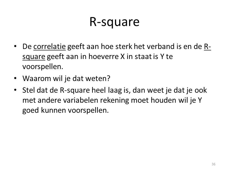 R-square De correlatie geeft aan hoe sterk het verband is en de R-square geeft aan in hoeverre X in staat is Y te voorspellen.