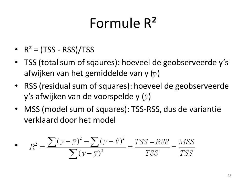 Formule R² R² = (TSS - RSS)/TSS