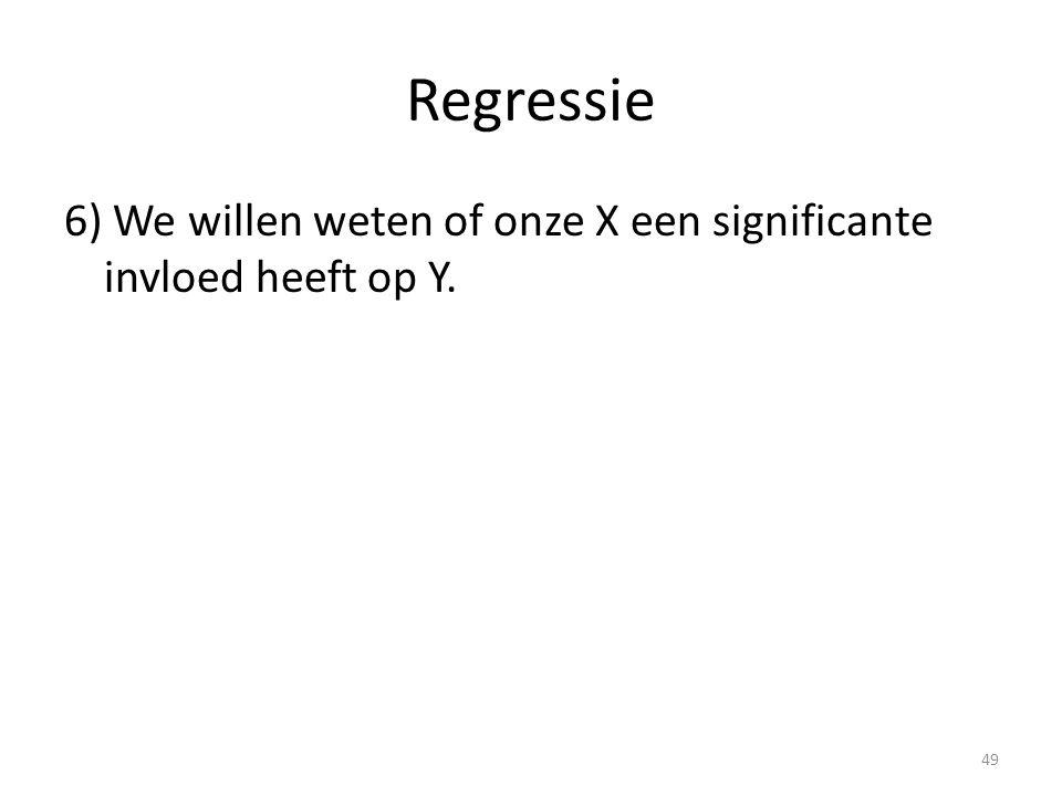 Regressie 6) We willen weten of onze X een significante invloed heeft op Y.