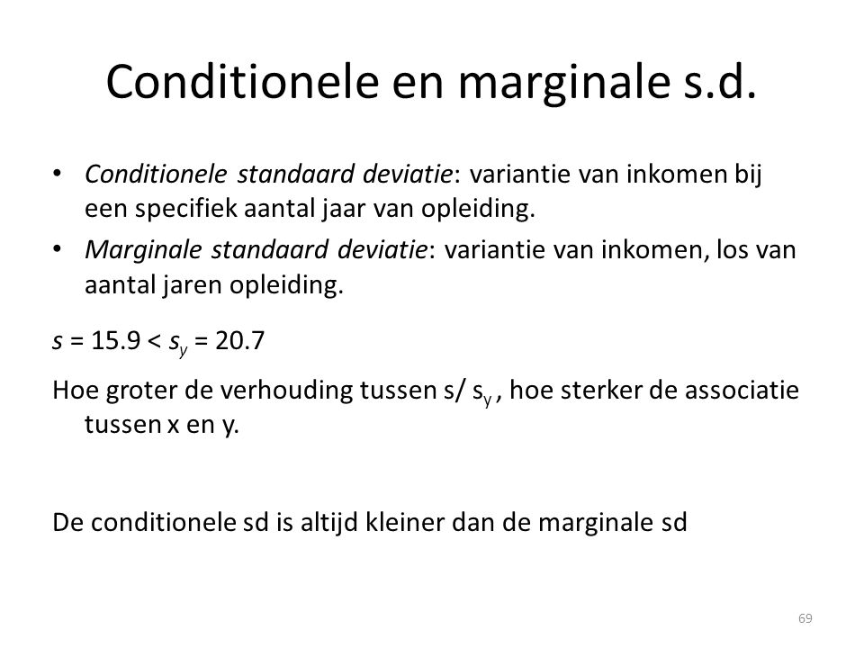 Conditionele en marginale s.d.