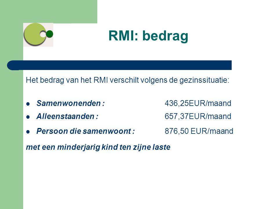 RMI: bedrag Het bedrag van het RMI verschilt volgens de gezinssituatie: Samenwonenden : 436,25EUR/maand.