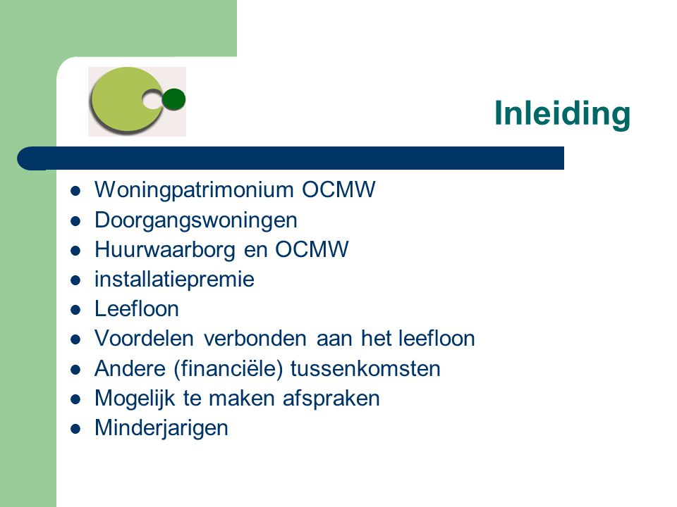 Inleiding Woningpatrimonium OCMW Doorgangswoningen