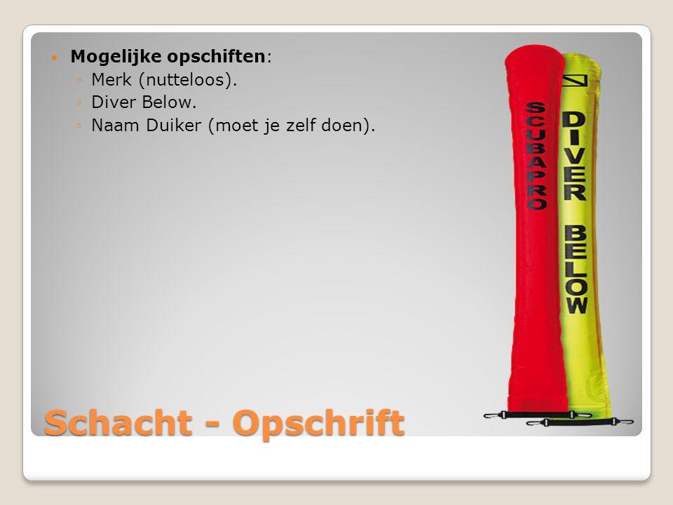 Schacht - Opschrift Mogelijke opschiften: Merk (nutteloos).