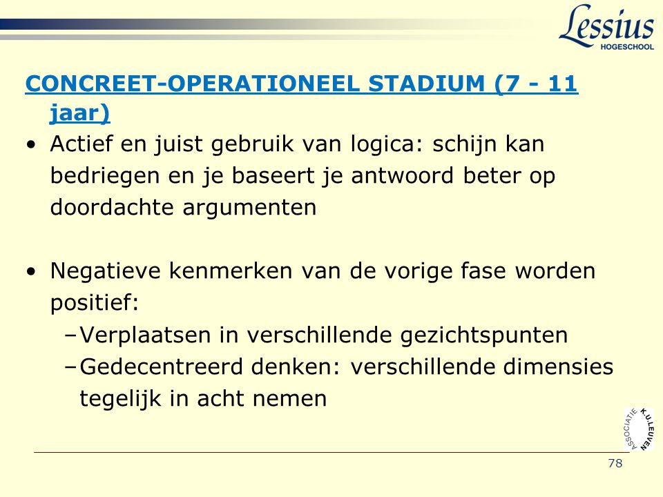 CONCREET-OPERATIONEEL STADIUM (7 - 11 jaar)