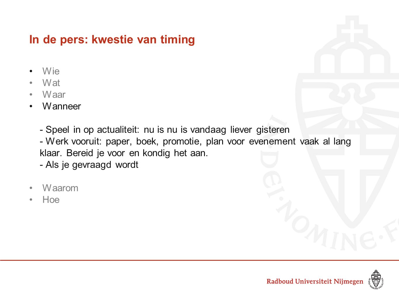 In de pers: kwestie van timing