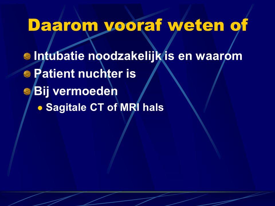 Daarom vooraf weten of Intubatie noodzakelijk is en waarom