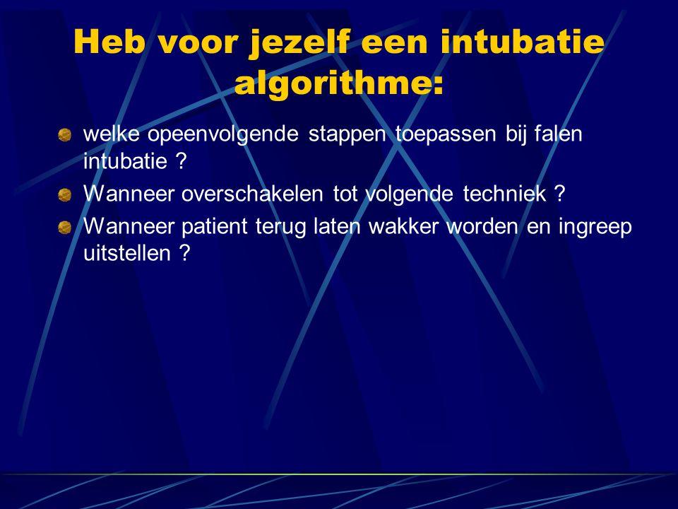 Heb voor jezelf een intubatie algorithme: