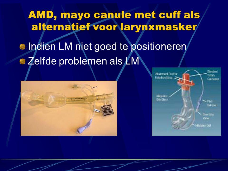 AMD, mayo canule met cuff als alternatief voor larynxmasker