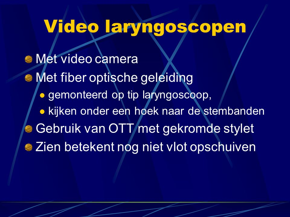 Video laryngoscopen Met video camera Met fiber optische geleiding