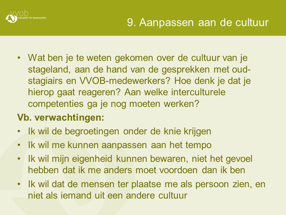 9. Aanpassen aan de cultuur