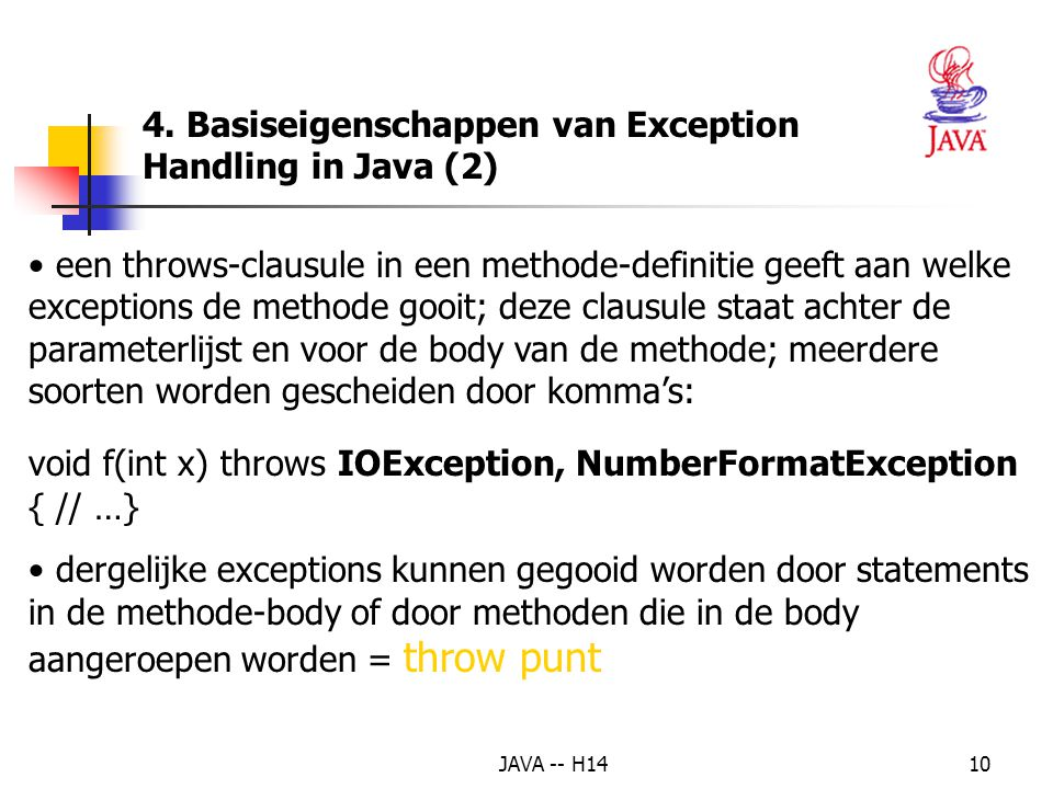 4. Basiseigenschappen van Exception Handling in Java (2)