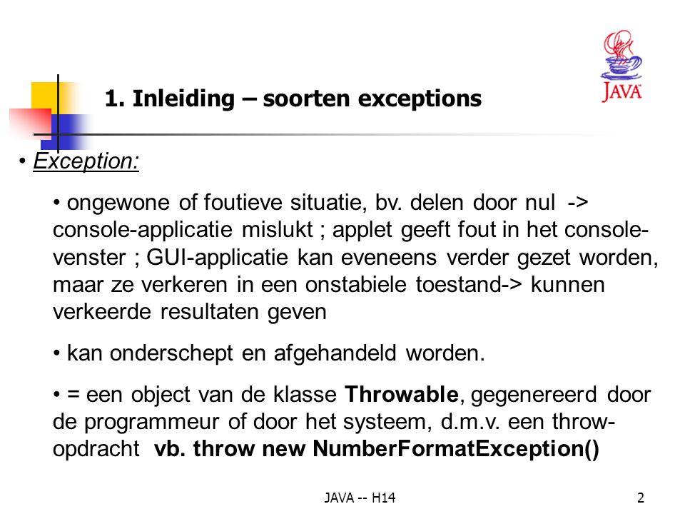 1. Inleiding – soorten exceptions