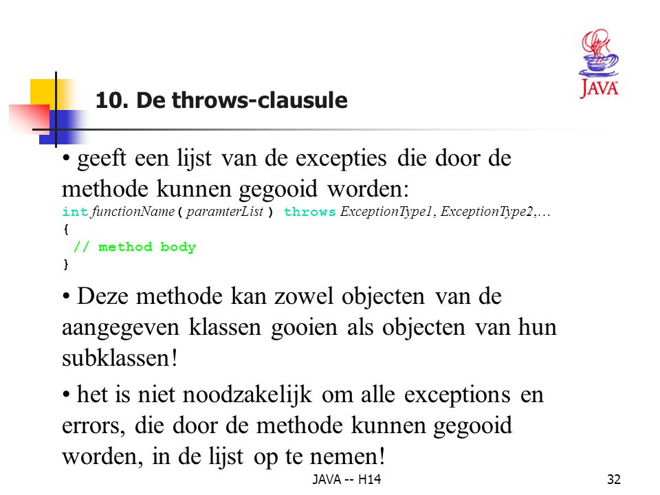 10. De throws-clausule