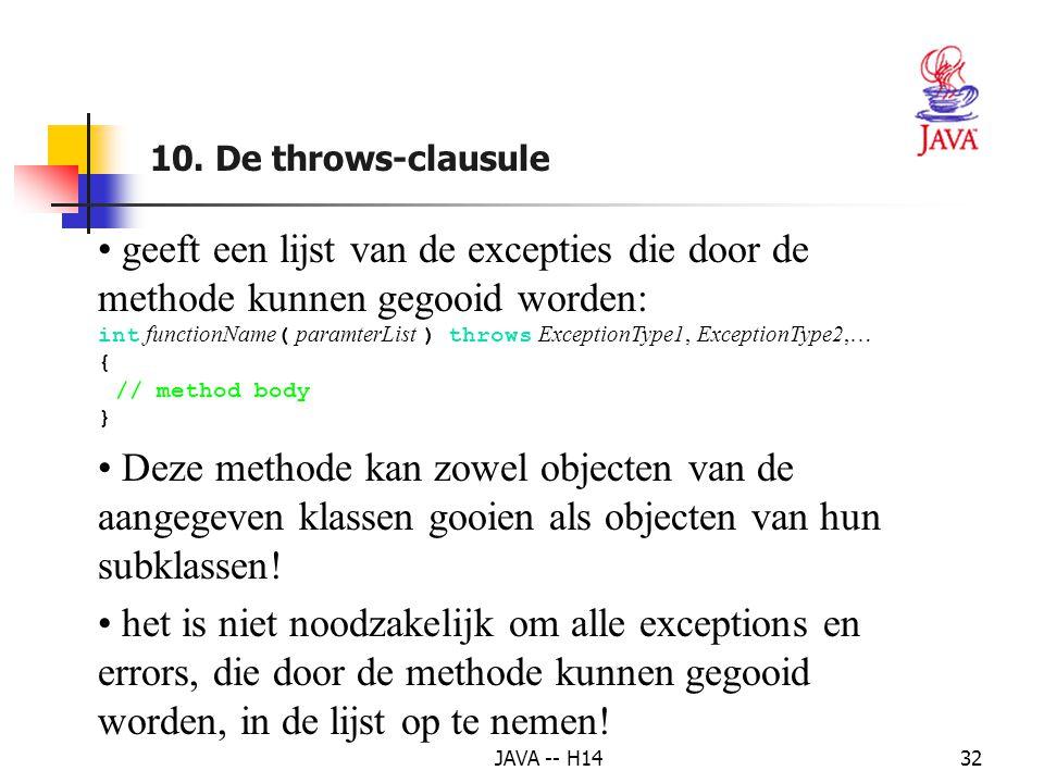 10. De throws-clausule