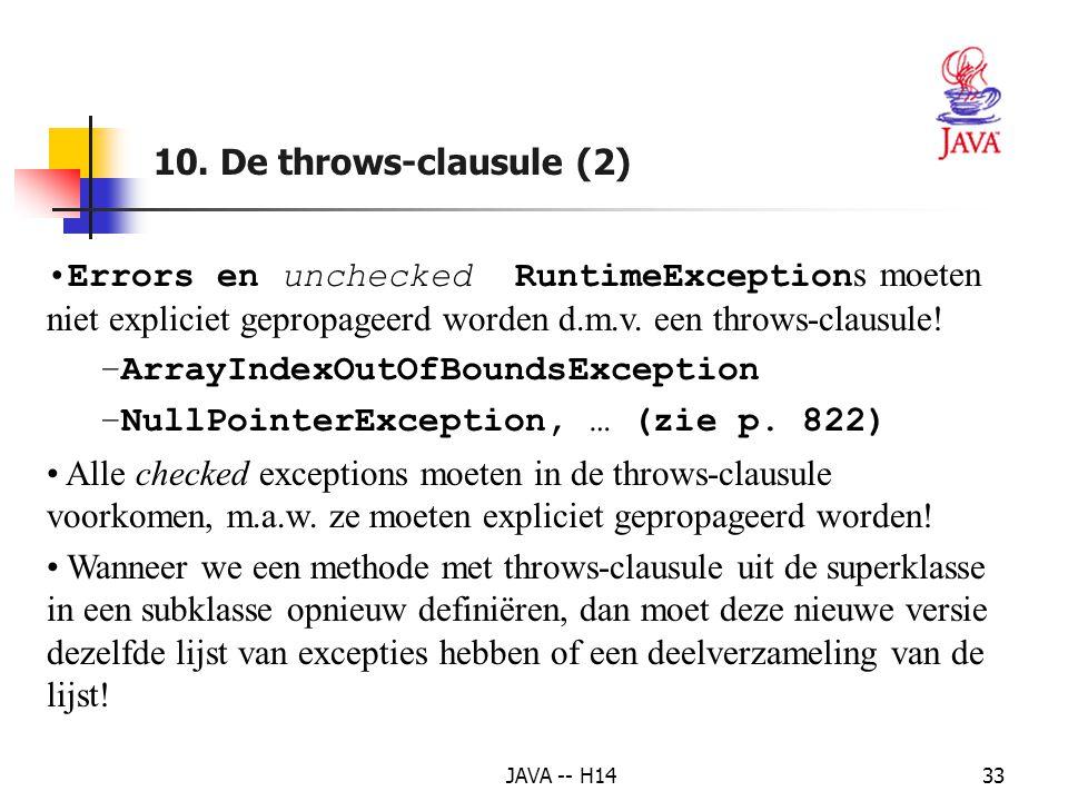 ArrayIndexOutOfBoundsException NullPointerException, … (zie p. 822)
