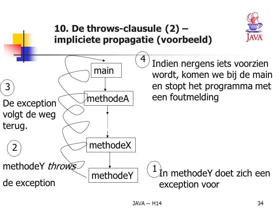 10. De throws-clausule (2) – impliciete propagatie (voorbeeld)